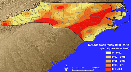 April North Carolina Tornado Outbreak - Map of tornado frequency in us