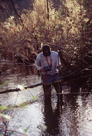 researcher taking water samples