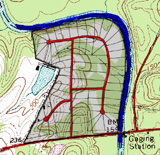 plan of conventional rural development overlain on nuese river site map